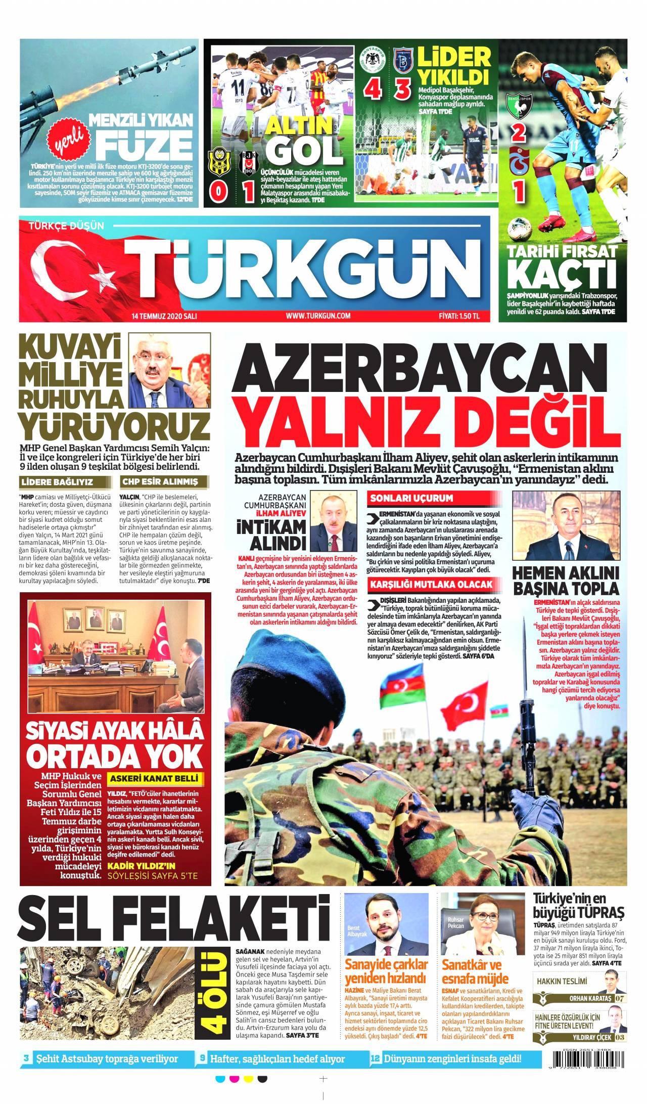Türkgün gazetesi manşet ilk sayfa oku