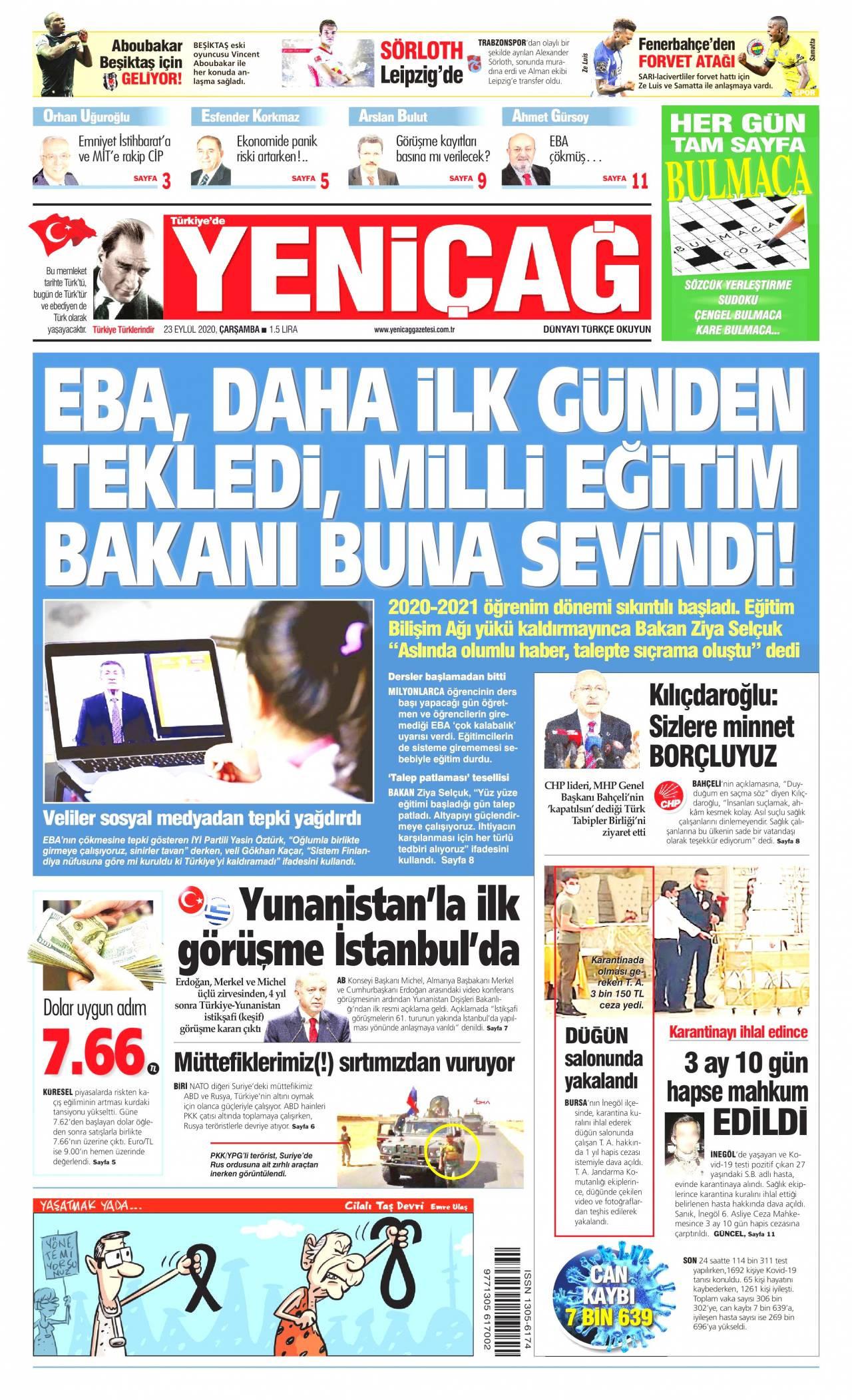 Yeniçağ gazetesi manşet ilk sayfa oku