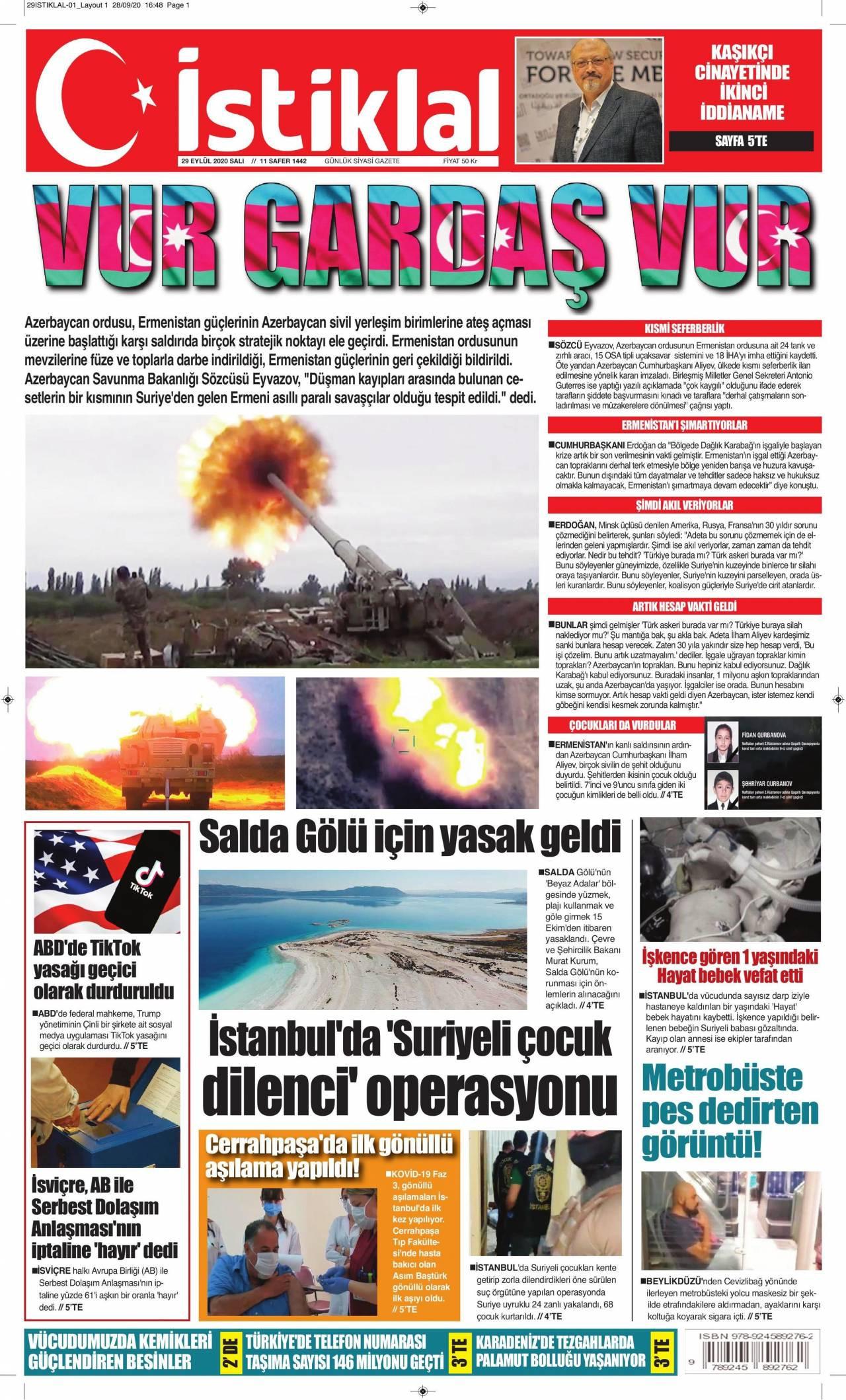 İstiklal gazetesi manşet ilk sayfa oku