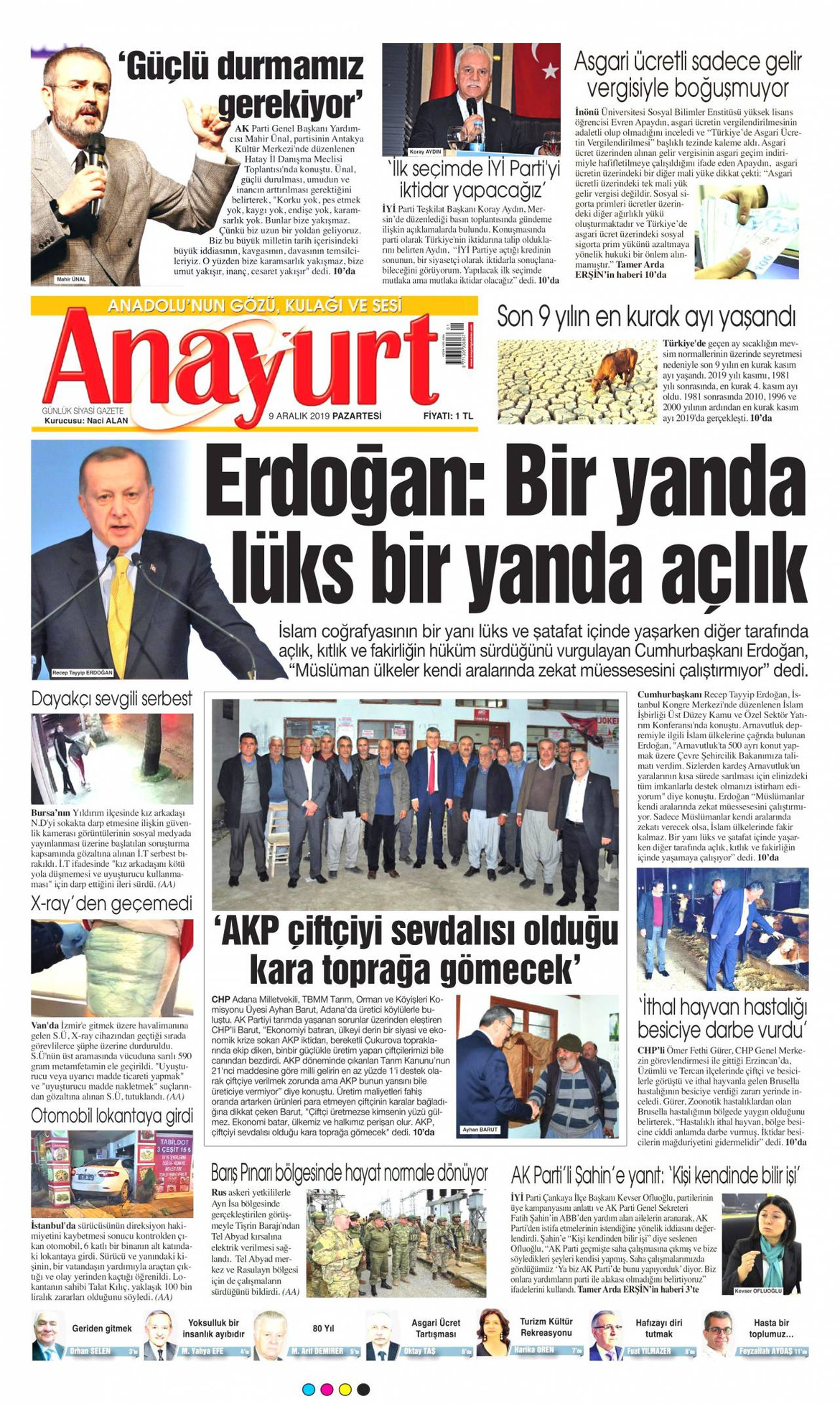 Anayurt gazetesi manşet ilk sayfa oku