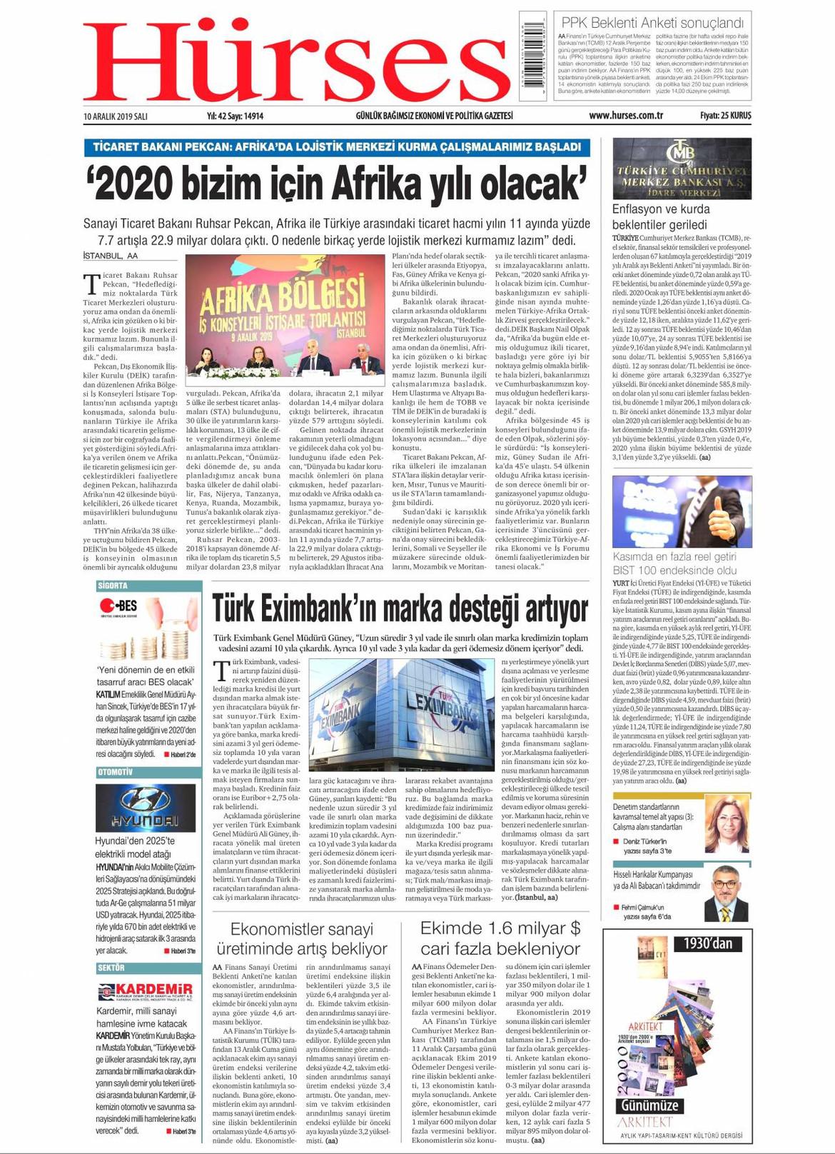 Hürses gazetesi manşet ilk sayfa oku