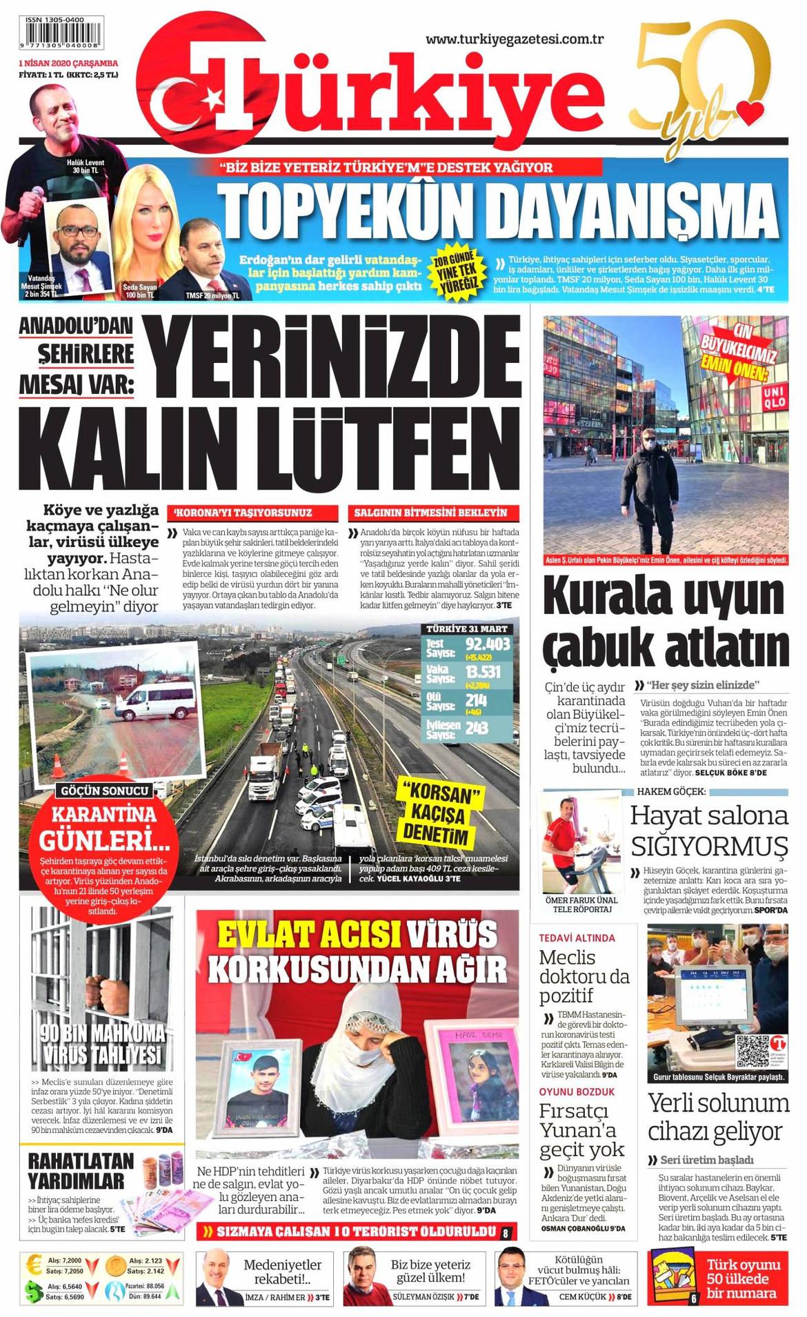 Türkiye gazetesi manşet ilk sayfa oku