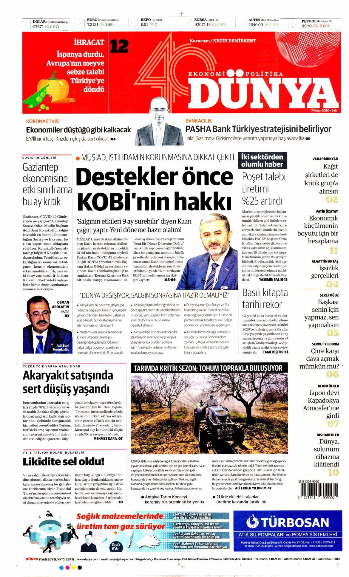 Dünya gazetesi manşet ilk sayfa oku