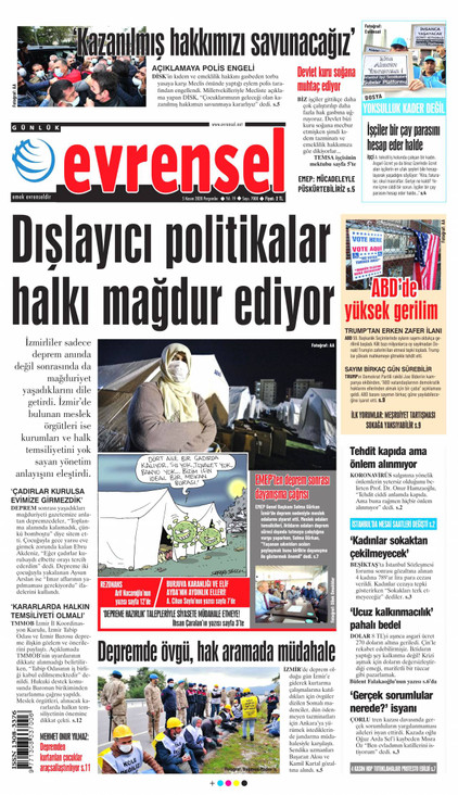 Evrensel Gazetesi Manşeti