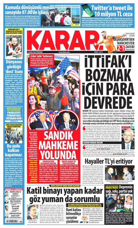 Karar Gazetesi Manşeti