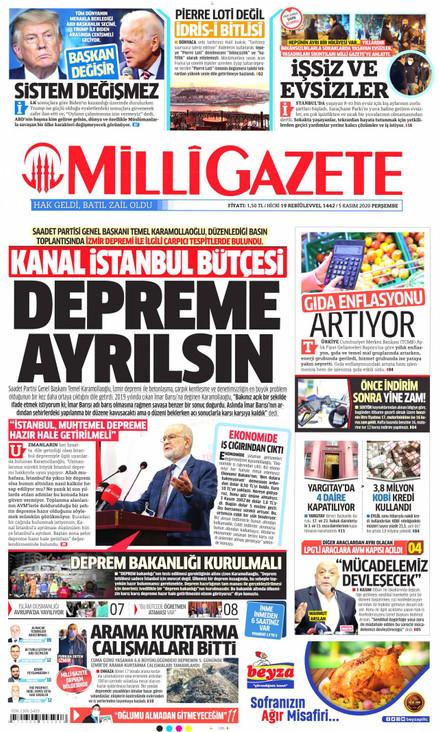 Milli Gazete Gazetesi Manşeti