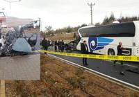 Kırşehir'de otobüs ile otomobil çarpıştı