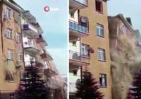 Faciadan kıl payı dönüldü! Elazığ'da 4.2'lik depremde hasarlı bina böyle yıkıldı...