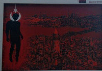 Reklam panosuna figür çizen şüpheli tutuklandı