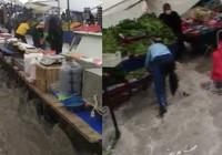 İstanbul'daki şiddetli yağış pazarı yerle bir etti