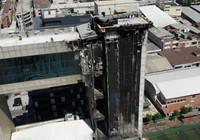 Yangın çıkan Mehmet Akif Ersoy Kültür Merkezi havadan görüntülendi