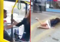 Otobüsten böyle atıldı