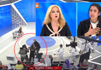Stüdyo karıştı! Fidan Arslan kocasının anlattıklarına sinirlenince uçan tekme attı