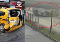 Kırmızı ışık ihlali yapan tanker taksiyi böyle parçaladı