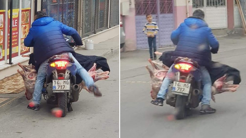 Bursa'da akılalmaz görüntüler! Motosikletine yüklediği ambalajsız et ile yolculuk yaptı