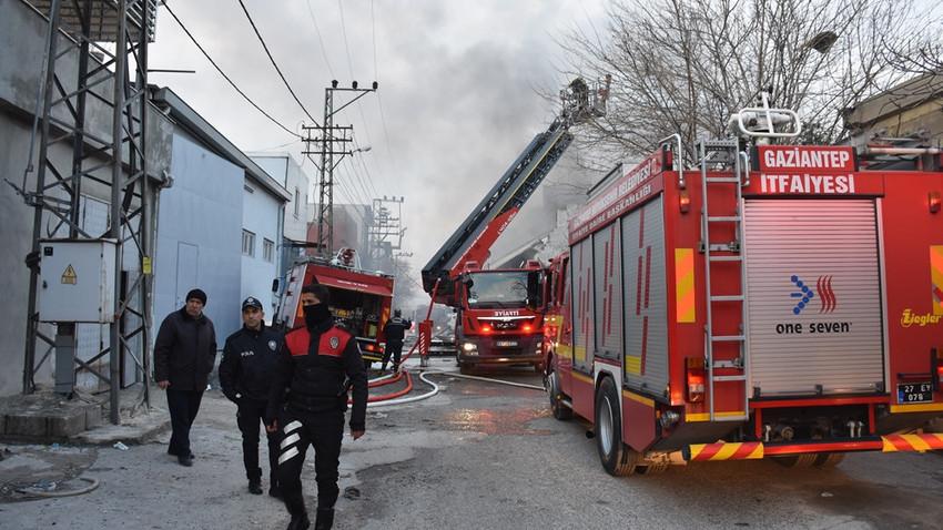Gaziantep'te tutkal imalathanesinde yangın