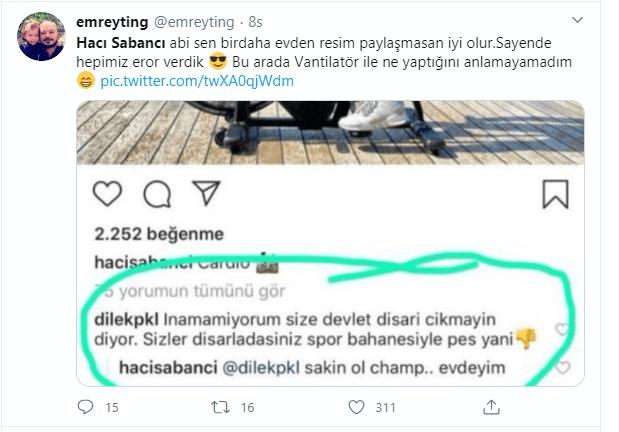 Hacı Sabancı, açık havada spor yapmasına tepki gösteren takipçisine yanıt verdi: Sakin ol şampiyon, evdeyim - Sayfa 4