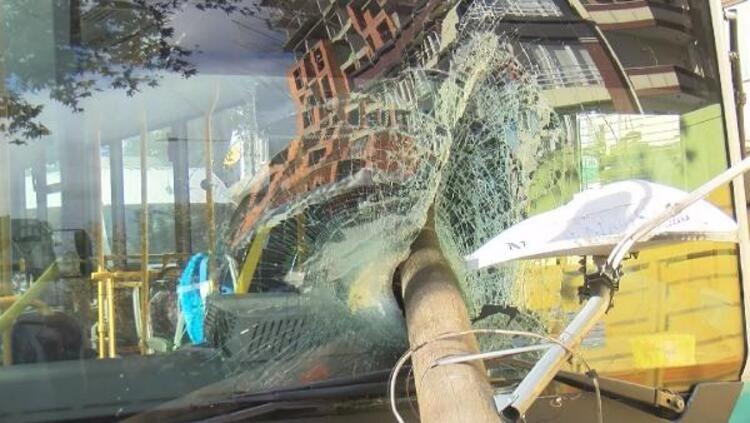 Otobüsün camından direk girdi, şoförü kıl payı ölümden döndü - Sayfa 2