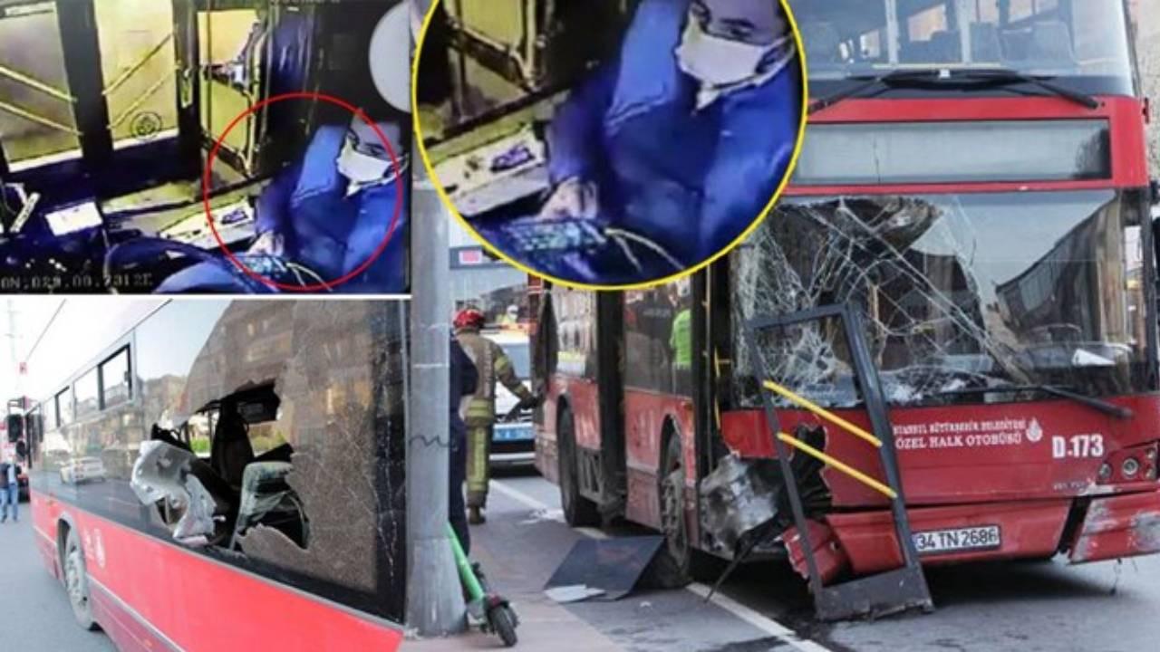Beşiktaş'taki İETT otobüsü kazasında skandal görüntü! Şoför telefonla oynuyormuş
