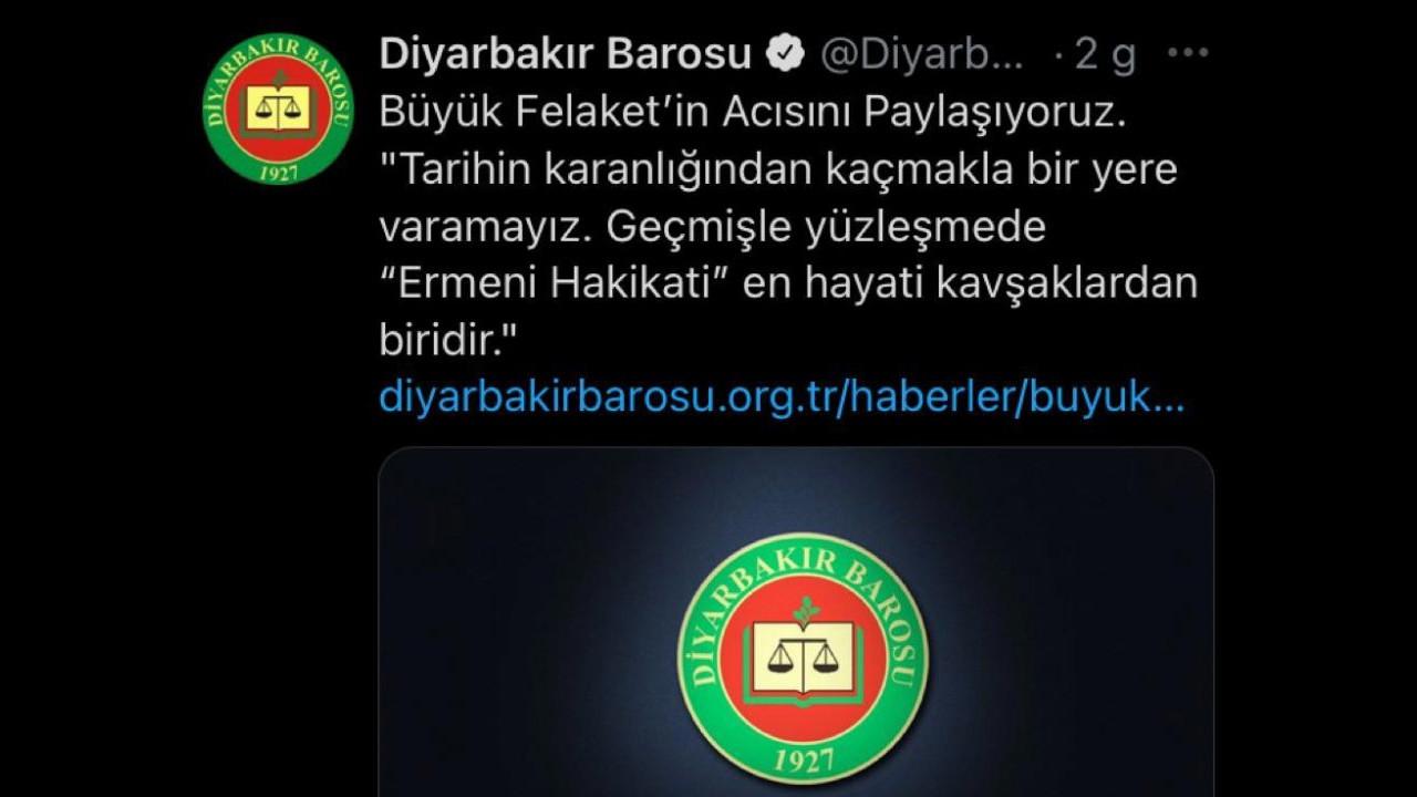 1915 olaylarıyla ilgili bildiri yayınlayan Diyarbakır Barosu'na soruşturma
