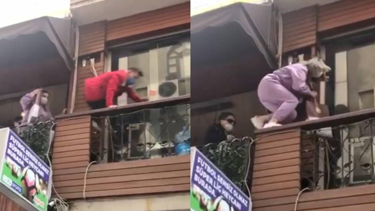 Polis kafeyi basınca, balkondan balkona kaçtılar!