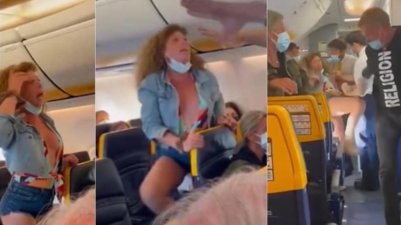 Kadın yolcu maske kavgasında rezalet çıkardı!