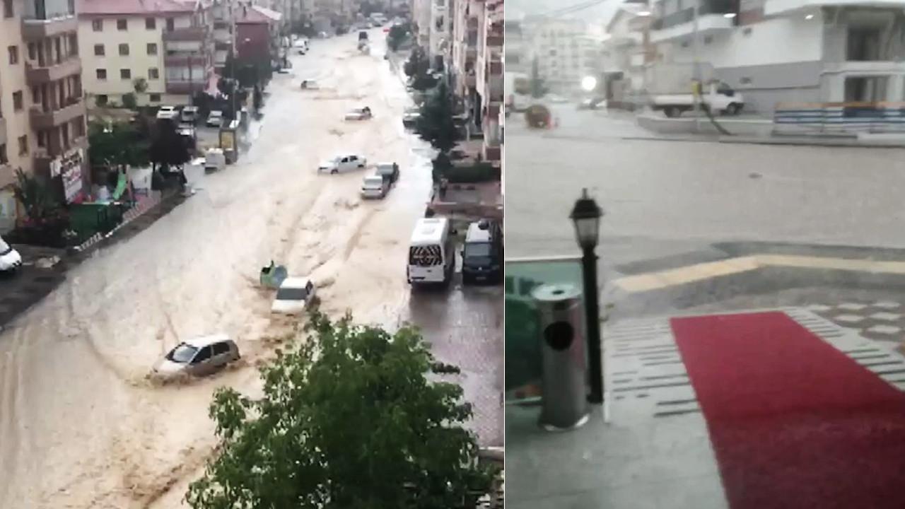 Ankara'da sel! Caddeler su altında kaldı, araçlar sürüklendi