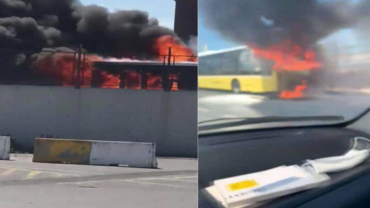 Bayrampaşa'da İETT otobüsü alev alev yandı! - Sayfa 1