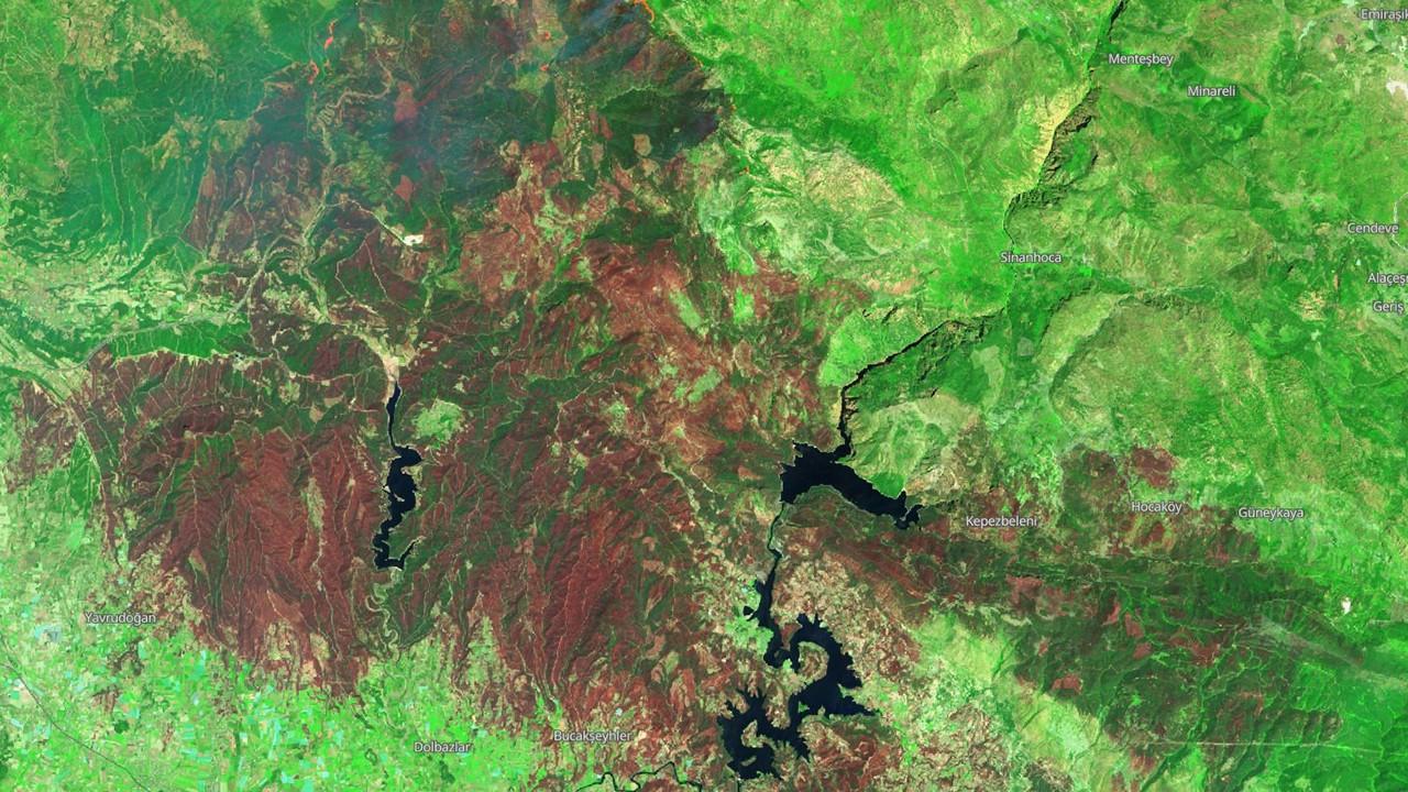 Manavgat, Marmaris ve Milas yangınlarının uydu görüntüsü