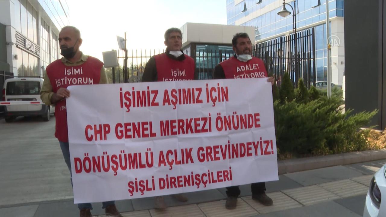 İşçiler CHP önünde açlık grevine başladı