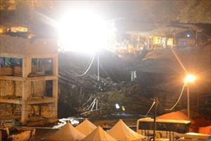 Ermenek'te istinat duvarı çöktü