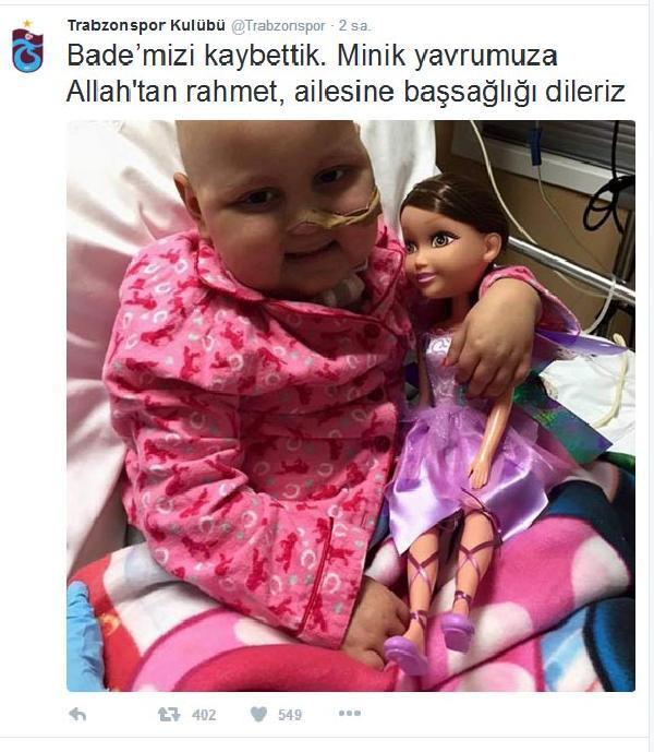 Trabzonspor 4 yaşındaki Bade'nin ölümüyle şok oldu