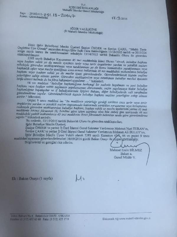 Iğdır'da DBP'li 2 Belediye Meclis Üyesinin yerine kayyum atandı