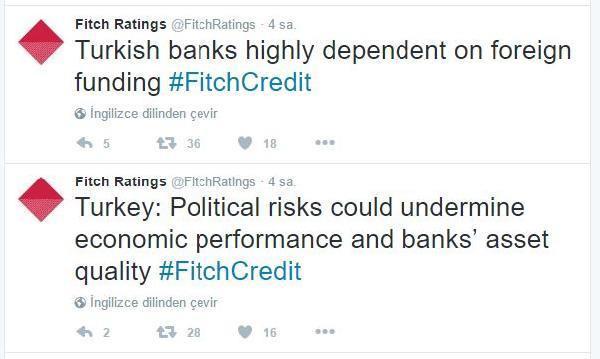 Fitch: Politik riskler ekonomik performansı ve bankaların aktif kalitesini zayıflatabilir