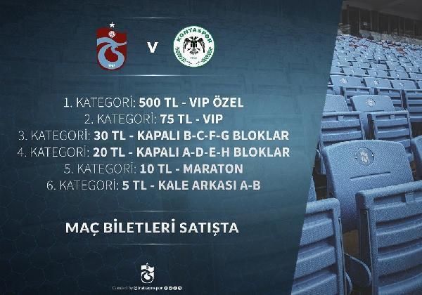 Trabzonspor'un Atiker Konyaspor kupa maçının bilet fiyatları açıklandı