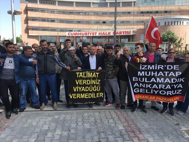 CHP Genel Merkezi önünde pazarcı eylemi…