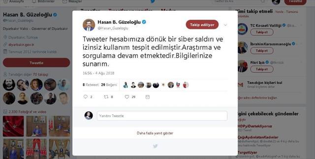 Diyarbakır Valisinin twitter hesabı hacklendi…