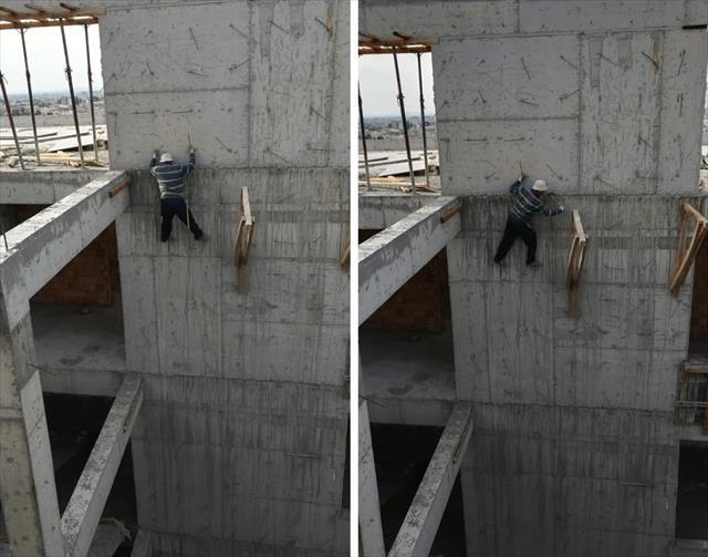 İnşaat işçisi 5'inci katta ölüme meydan okudu