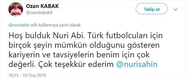 Ozan Kabak'tan Nuri Şahin'e cevap