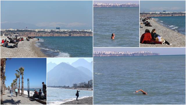 Antalya'da güneşli havada deniz keyfi
