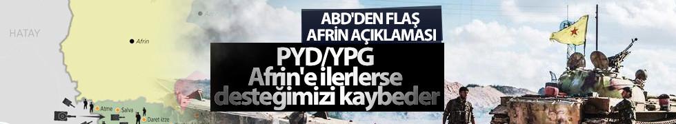 ABD'den Afrin açıklaması: PYD/YPG Afrin'e ilerlerse desteğimizi kaybeder