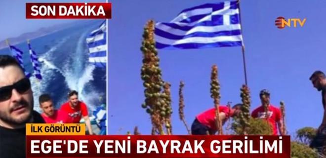 Ege Denizi'nde Yunanistan'dan yeni provokasyon! Didim açıklarına dikilen Yunan bayrağı indirildi