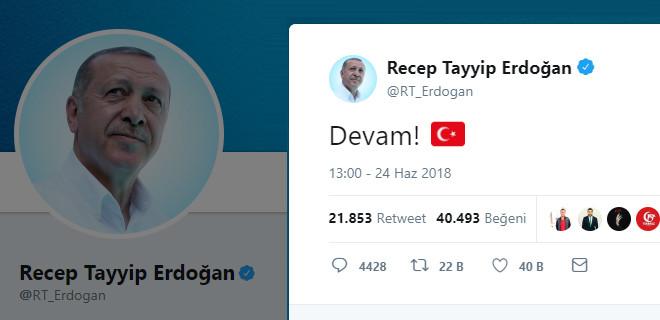 Erdoğan'dan 'Devam' tweeti…