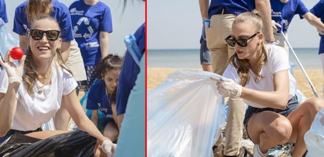 Serenay Sarıkaya Kilyos'ta çöp topladı!