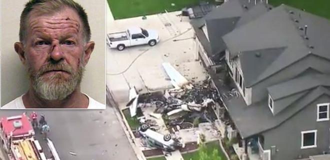 Çaldığı uçakla kendi evine çarpıp intihar etti