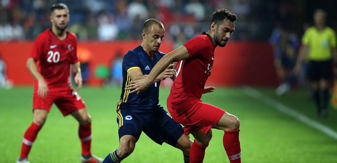Hazırlık maçında Rize'de Bosna Hersek'i konuk eden Türkiye, rakibiyle 0-0 berabere kaldı