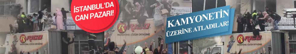 Arnavutköy'de gecekonduda yangın çıktı! Kamyonetin üzerine atladılar!