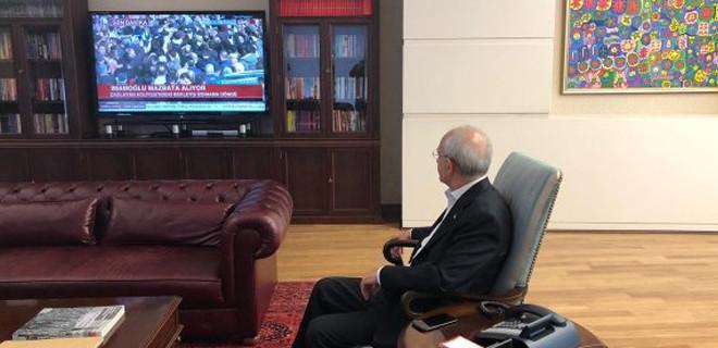 Kemal Kılıçdaroğlu Ekrem İmamoğlu'nu televizyondan izledi