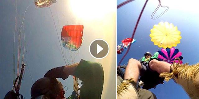 Paraşüt havada ikiye ayrıldı