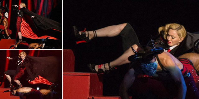 Madonna sahneden böyle düştü